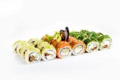 Sushi fijado en el fondo blanco Imagen de archivo libre de regalías