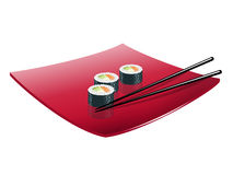 Sushi with fish, avocado and cheese. Vector. Sushi with a fish on a red plate stock illustration