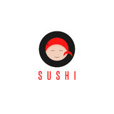 Sushi with fish and face of chef vector design. Template Royalty Free Stock Photos