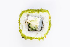 Sushi with fish and green caviar top view Stock Photo