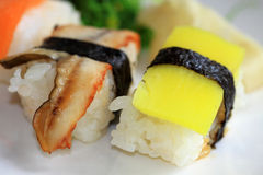 Sushi with fish and rice Royalty Free Stock Photos