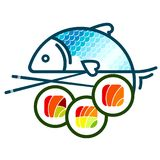 Sushi and fish vector. Sushi with different filling and fish vector vector illustration