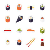 Sushi Flat Design Isolated Vector Icons Collection Stock Image