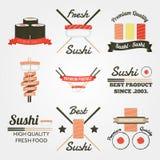 Sushi flat design vintage label Royalty Free Stock Image
