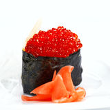 Sushi with flying fish caviar Stock Photos