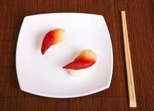 Sushi food. Japanese sushi food with chop sticks stock photo