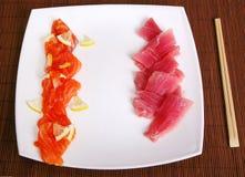 Sushi food. Japanese sushi food with chop sticks Royalty Free Stock Image
