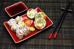 Sushi food on bamboo mat Stock Photos