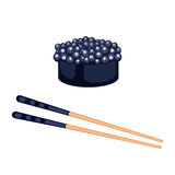 Sushi food and chopsticks vector illustration. Stock Photography