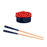Sushi food and chopsticks vector illustration. Royalty Free Stock Image