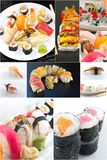 Sushi Food Collage. Variety of popular sushi rolls in Japanese food collage imagery Stock Photos