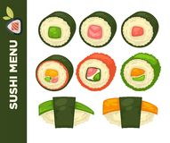 Sushi food colorful vector flat collection on white. Sushi food colorful vector flat collection and inscription on green line on white. Asian restaurant meal in stock illustration