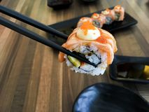 Sushi. Food dish roll seafood salmon japan japanese backgrounds fish royalty free stock photography
