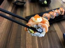 Sushi. Food dish roll seafood salmon japan japanese backgrounds fish royalty free stock images