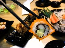 Sushi. Food dish roll seafood salmon japan japanese backgrounds fish stock photos