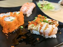 Sushi. Food dish roll seafood salmon japan japanese backgrounds fish stock photography