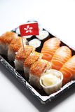 Sushi food on tray with Hong Kong flag against white background Royalty Free Stock Image