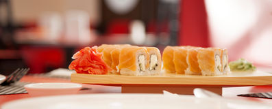 Sushi food uapan roll with blur background Stock Photography
