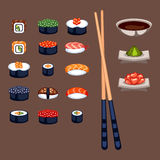 Sushi food vector illustration. Sushi rolls icon food and japanese gourmet seafood. Traditional seaweed fresh raw food vector illustration. Asian cuisine Stock Photo