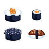 Sushi food vector illustration. Sushi rolls icon food and japanese gourmet seafood. Traditional seaweed fresh raw food vector illustration. Asian cuisine Royalty Free Stock Image