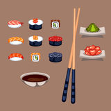 Sushi food vector illustration. Sushi rolls icon food and japanese gourmet seafood. Traditional seaweed fresh raw food vector illustration. Asian cuisine Royalty Free Stock Photos