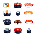 Sushi food vector illustration. Sushi rolls icon food and japanese gourmet seafood. Traditional seaweed fresh raw food vector illustration. Asian cuisine Royalty Free Stock Photo