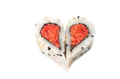 Sushi forming heart shape love concept Stock Images