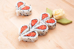 Sushi forming hearts and flower shapes Royalty Free Stock Photography