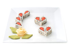 Sushi forming hearts and flower shapes Stock Photo