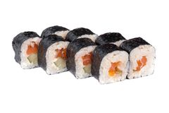 Sushi fresh maki rolls with red caviar Royalty Free Stock Image