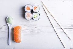 Sushi. Fresh sushi on white background stock images