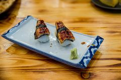 Sushi freshwater eel grilled. Japanese food for healthy. unagi sushi, premium sushi menu. image for background. Wallpaper, copy space and menu list stock photography