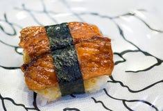 sushi freshwater eel grilled. Japanese food for healthy. unagi sushi, premium sushi menu. Royalty Free Stock Photos