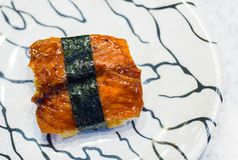 Sushi freshwater eel grilled. Japanese food for healthy. unagi sushi, premium sushi menu. Royalty Free Stock Images