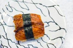 Sushi freshwater eel grilled. Japanese food for healthy. unagi sushi, premium sushi menu. Stock Images