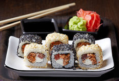 Sushi with fried salmon Stock Photos