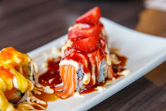 Sushi fruits roll, close up Royalty Free Stock Photography