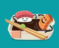 Sushi fun character in bath sauce. Vector flat illustration Stock Photo