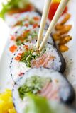 Sushi futomaki on plate Royalty Free Stock Images