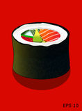 Sushi, Futomaki roll, vector illustration. Futomaki sushi roll with salmon, caviar, cucumber and avocado, isolated on red, all objects on different layers Stock Photos