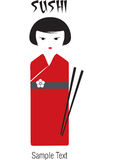 Sushi Geisha. Typical for the Japanese culture, wearing a red dress Stock Photography