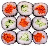 Sushi getrennt auf Weiß Stockfotos