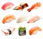 Sushi giapponesi isolati su un bianco fotografia stock
