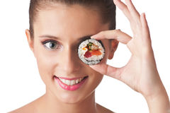 Sushi girl isolated Royalty Free Stock Images