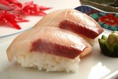 Sushi. Great amberjack sushi with Wasabi royalty free stock photo