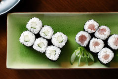 Sushi on Green Plate Royalty Free Stock Photo