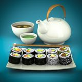 Sushi, green tea and soup Royalty Free Stock Photography