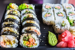 Sushi with grilled salmon Royalty Free Stock Photo