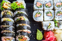 Sushi with grilled salmon Royalty Free Stock Images