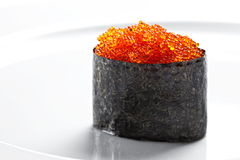 Sushi gunkan with caviar  on a white background Stock Photos